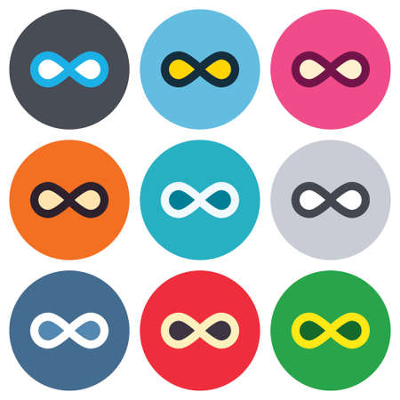 eternally: Limitless sign icon. Infinity symbol. Colored round buttons. Flat design circle icons set. Vector
