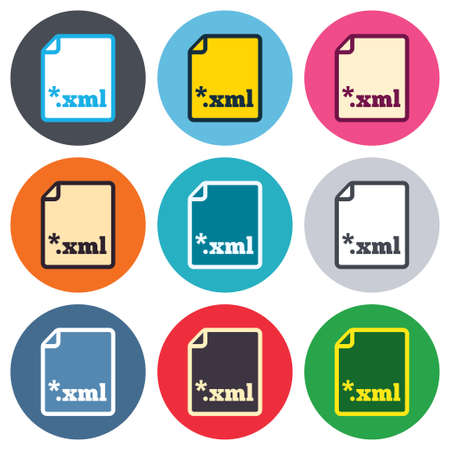 extensible: File document icon. Download XML button. XML file extension symbol. Colored round buttons. Flat design circle icons set. Vector Illustration