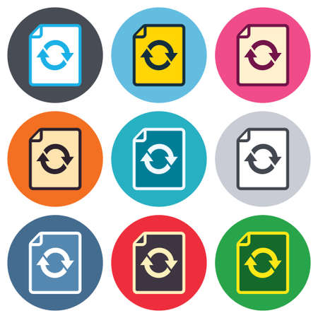 File document refresh icon. Reload doc symbol. Colored round buttons. Flat design circle icons set. Vector Vector
