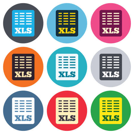 xls: Excel file document icon. Download xls button. XLS file symbol. Colored round buttons. Flat design circle icons set. Vector