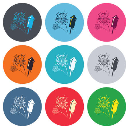 pyrotechnic: Fireworks with rocket sign icon. Explosive pyrotechnic symbol. Colored round buttons. Flat design circle icons set. Vector