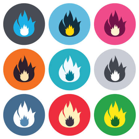 fire escape: Fire flame sign icon. Fire symbol. Stop fire. Escape from fire. Colored round buttons. Flat design circle icons set. Vector