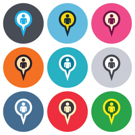 Map pointer user sign icon. Person location marker symbol. Colored round buttons. Flat design circle icons set. Vector Illustration