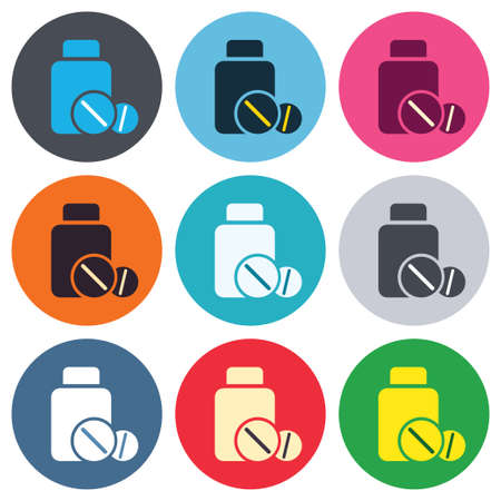 medicament: Medical tablets bottle sign icon. Pharmacy medicine drugs symbol. Colored round buttons. Flat design circle icons set. Vector Illustration