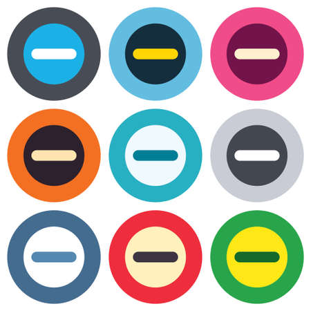 minus sign: Minus sign icon. Negative symbol. Zoom out. Colored round buttons. Flat design circle icons set. Vector