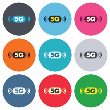 telecommunications technology: 5G sign icon. Mobile telecommunications technology symbol. Colored round buttons. Flat design circle icons set. Vector Illustration