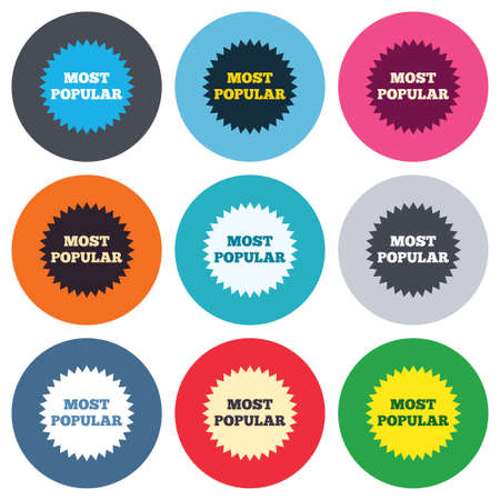Most popular sign icon. Bestseller symbol. Colored round buttons. Flat design circle icons set. Vector Vector