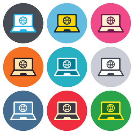 Laptop sign icon. Notebook pc with globe symbol. Colored round buttons. Flat design circle icons set. Vector Vector