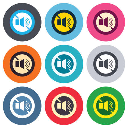 Speaker volume sign icon. No Sound symbol. Colored round buttons. Flat design circle icons set. Vector Vector