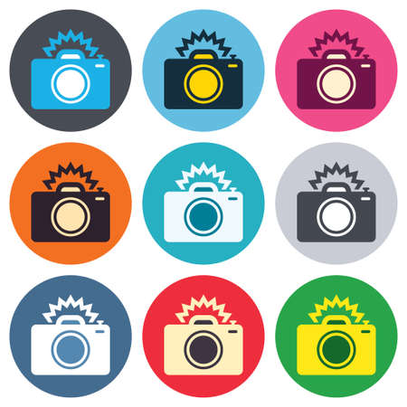 Photo camera sign icon. Photo flash symbol. Colored round buttons. Flat design circle icons set. Vector Vector