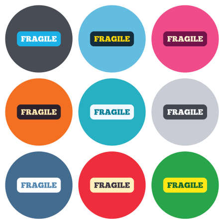 package sending: Fragile parcel sign icon. Delicate package delivery symbol. Colored round buttons. Flat design circle icons set. Vector Illustration