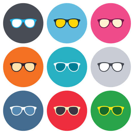 eyeglass: Retro glasses sign icon. Eyeglass frame symbol. Colored round buttons. Flat design circle icons set. Vector Illustration
