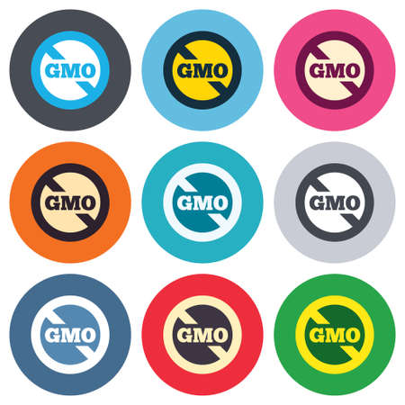 No GMO sign icon. Without Genetically modified food. Stop GMO. Colored round buttons. Flat design circle icons set. Vector Vector
