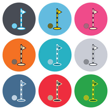Golf ball and hole sign icon. Sport symbol. Colored round buttons. Flat design circle icons set. Vector