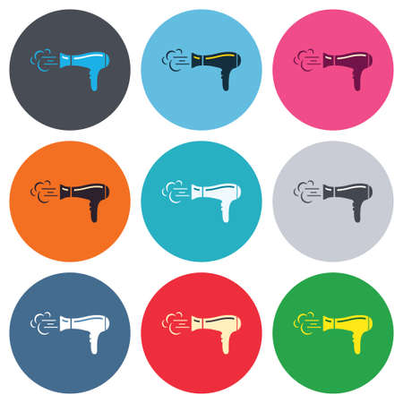 Hairdryer sign icon. Hair drying symbol. Blowing hot air. Turn on. Colored round buttons. Flat design circle icons set. Vector