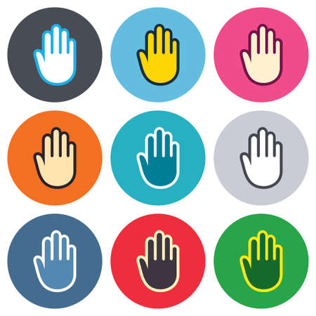 give me five: Hand sign icon. No Entry or stop symbol. Give me five. Colored round buttons. Flat design circle icons set. Vector Illustration