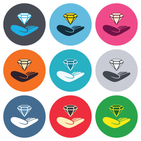 round brilliant: Jewelry insurance sign. Hand holds diamond symbol. Brilliant insurance. Colored round buttons. Flat design circle icons set. Vector