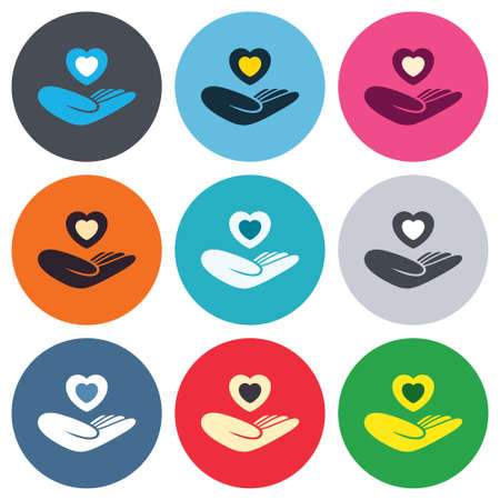 quality of life: Life insurance sign. Hand holds human heart symbol. Health insurance. Colored round buttons. Flat design circle icons set. Vector
