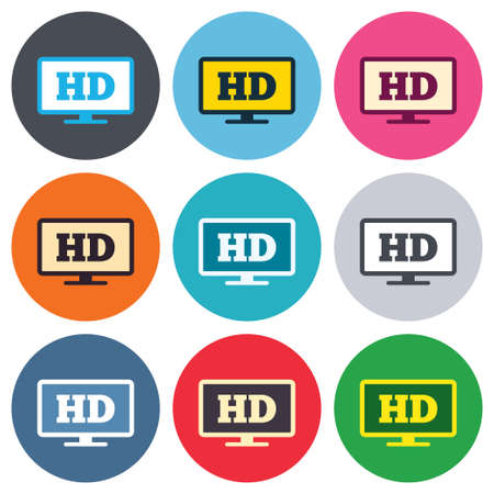 widescreen: HD widescreen tv sign icon. High-definition symbol. Colored round buttons. Flat design circle icons set. Vector