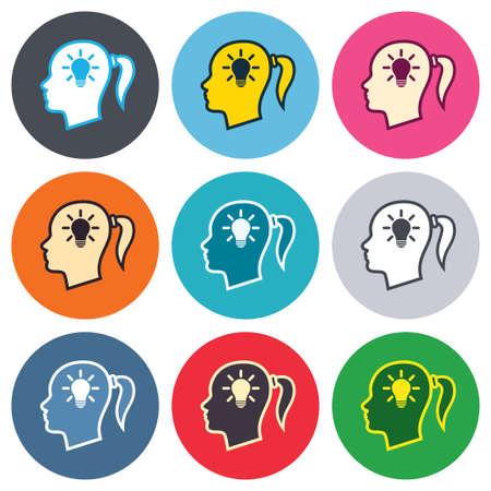 pigtail: Head with lamp bulb sign icon. Female woman human head idea with pigtail symbol. Colored round buttons. Flat design circle icons set. Vector