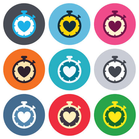 palpitation: Heart Timer sign icon. Stopwatch symbol. Heartbeat palpitation. Colored round buttons. Flat design circle icons set. Vector