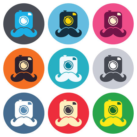 Hipster photo camera with mustache sign icon. Retro camera symbol. Colored round buttons. Flat design circle icons set. Vector Vector