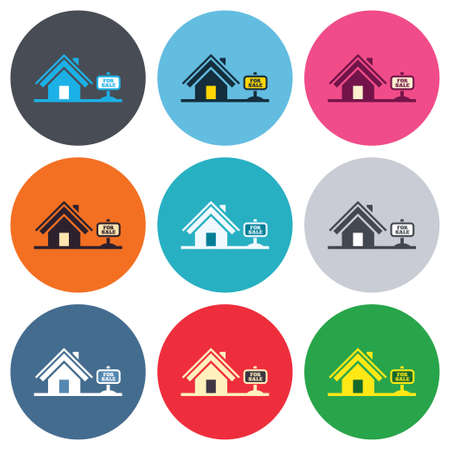 house for sale: Home sign icon. House for sale. Broker symbol. Colored round buttons. Flat design circle icons set. Vector