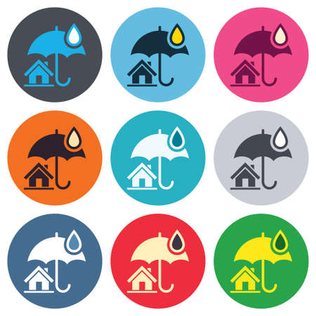 belay: Home insurance sign icon. Real estate insurance symbol. Colored round buttons. Flat design circle icons set. Vector