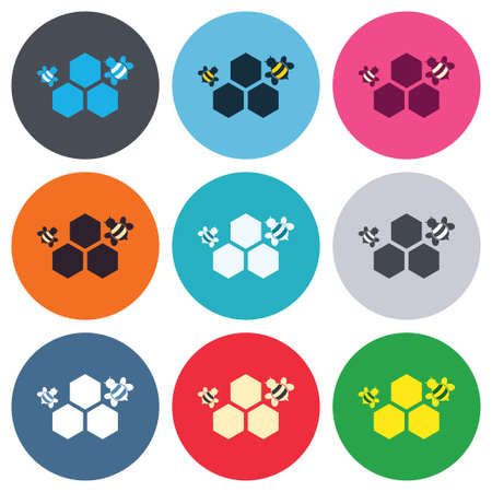 Honeycomb with bees sign icon. Honey cells symbol. Sweet natural food. Colored round buttons. Flat design circle icons set. Vector Vector