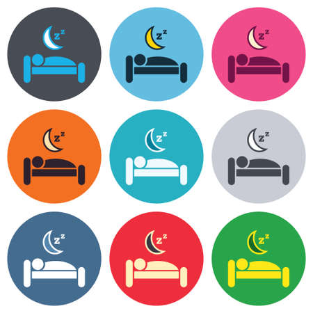 sleeper: Hotel apartment sign icon. Travel rest place. Sleeper symbol. Colored round buttons. Flat design circle icons set. Vector Illustration