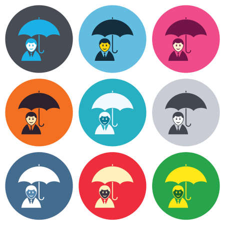 Human insurance sign icon. Man Person symbol. Colored round buttons. Flat design circle icons set. Vector Vector
