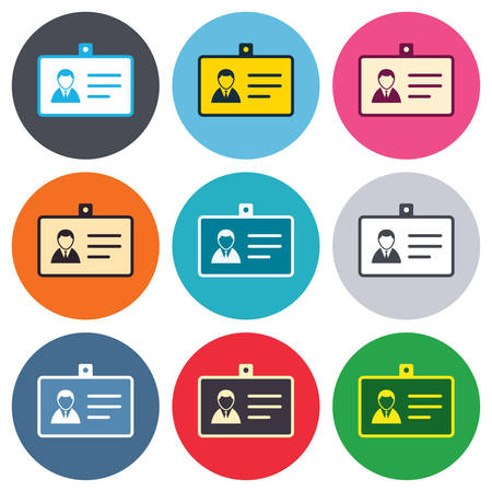 guests: ID card sign icon. Identity card badge symbol. Colored round buttons. Flat design circle icons set. Vector