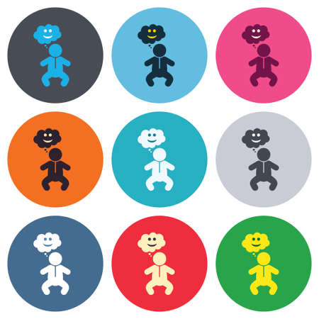 crawlers: Baby infant happy think sign icon. Toddler boy in pajamas or crawlers body symbol. Colored round buttons. Flat design circle icons set. Vector