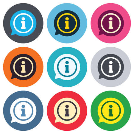 Information sign icon. Info speech bubble symbol. Colored round buttons. Flat design circle icons set. Vector Vector