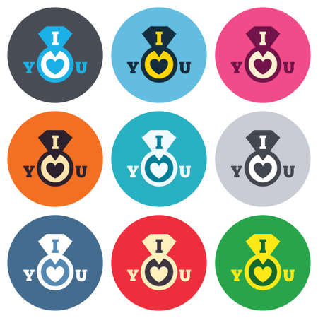 i love you sign: I Love you sign icon. Valentines day symbol. Colored round buttons. Flat design circle icons set. Vector