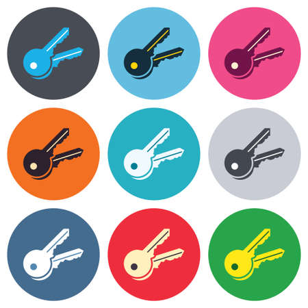 Keys sign icon. Unlock tool symbol. Colored round buttons. Flat design circle icons set. Vector Illustration