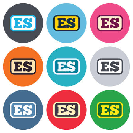 vector es: Spanish language sign icon. ES translation symbol with frame. Colored round buttons. Flat design circle icons set. Vector