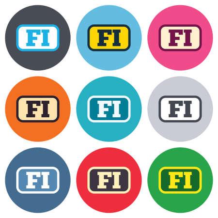핀란드의: 핀란드어 기호 아이콘입니다. 프레임 FI 핀란드 번역 상징. 컬러 라운드 단추. 평면 설계 원 아이콘을 설정합니다. 벡터