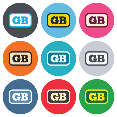 gb: British language sign icon. GB Great Britain translation symbol with frame. Colored round buttons. Flat design circle icons set. Vector
