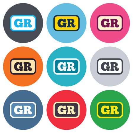 gr: Greek language sign icon. GR Greece translation symbol with frame. Colored round buttons. Flat design circle icons set. Vector