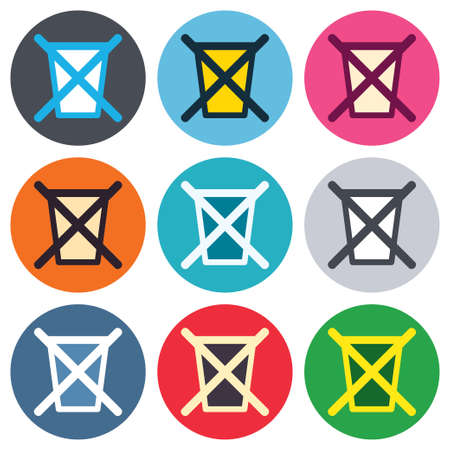 utilization: Do not throw in trash. Recycle bin sign icon. Colored round buttons. Flat design circle icons set. Vector Illustration