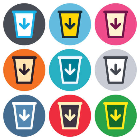 utilization: Send to the trash icon. Recycle bin sign. Colored round buttons. Flat design circle icons set. Vector Illustration