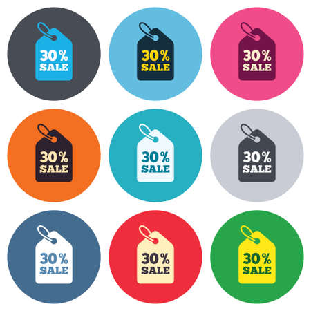 thirty percent off: 30% sale price tag sign icon. Discount symbol. Special offer label. Colored round buttons. Flat design circle icons set. Vector
