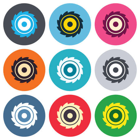 cutting blade: Saw circular wheel sign icon. Cutting blade symbol. Colored round buttons. Flat design circle icons set. Vector Illustration