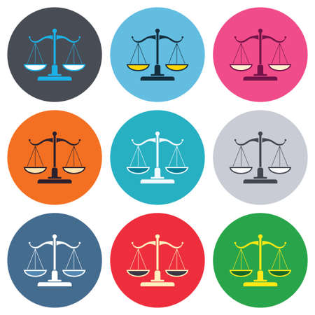 Scales of Justice sign icon. Court of law symbol. Colored round buttons. Flat design circle icons set. Vector