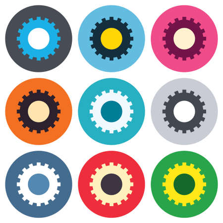 Cog settings sign icon. Cogwheel gear mechanism symbol. Colored round buttons. Flat design circle icons set. Vector Vector