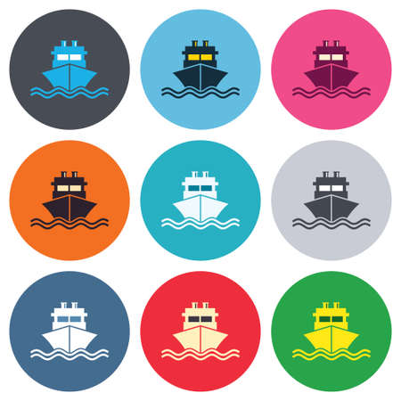 Ship or boat sign icon. Shipping delivery symbol. With chimneys or pipes. Colored round buttons. Flat design circle icons set. Vector Vector