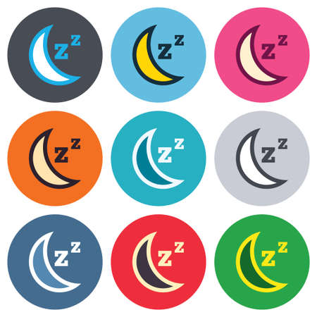 standby: Sleep sign icon. Moon with zzz button. Standby. Colored round buttons. Flat design circle icons set. Vector