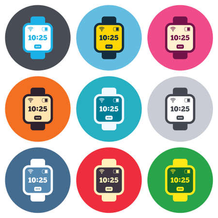 Smart watch sign icon. Wrist digital watch. Wifi and battery energy symbol. Colored round buttons. Flat design circle icons set. Vector Vector