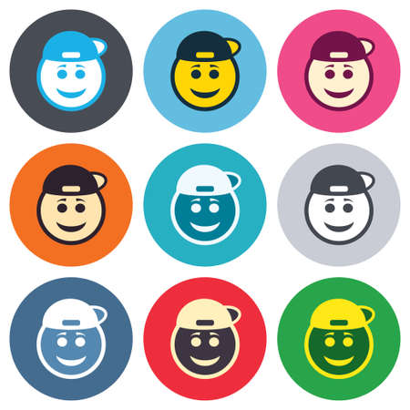 Smile rapper face sign icon. Happy smiley with hairstyle chat symbol. Colored round buttons. Flat design circle icons set. Vector Vettoriali